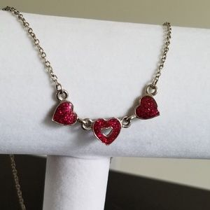 Jewelry - Silver & Pink Sparkling Hearts Necklace